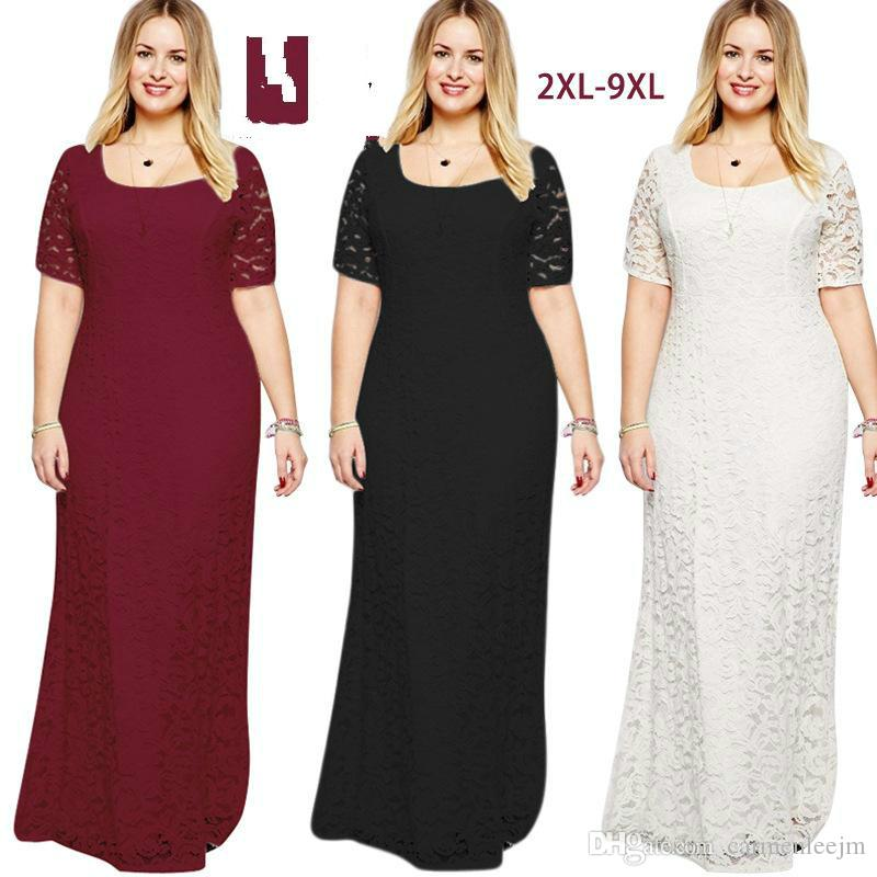 Vestido Lace Long Dresses New 2017 Women Plus Size 9xl 8xl Chubby