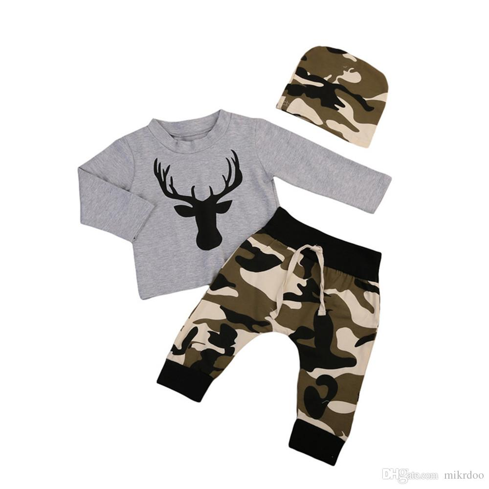 410bdc4b7dc 2019 Mikrdoo 2017 Baby Christmas Suits Grey Deer T Shirt Camouflage Long Pants  Hat Sets Kids Boys Girls Cotton High Quality Clothes Outfits From Mikrdoo