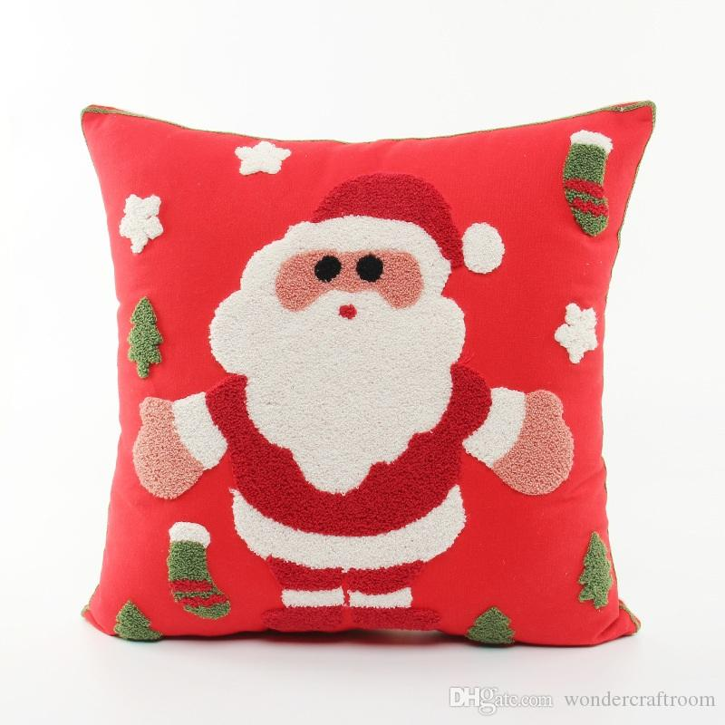 Santa Claus Embroidered Cushion Cover Merry Christmas Tree Sock Embroidery Cushion Covers Sofa Throw Decorative Cotton Pillow Case Present