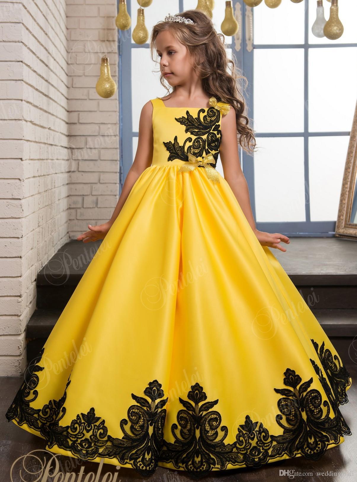 Großhandel Gelbe Spitze Arabic 2017 Blumenmädchen Kleider Satin ...