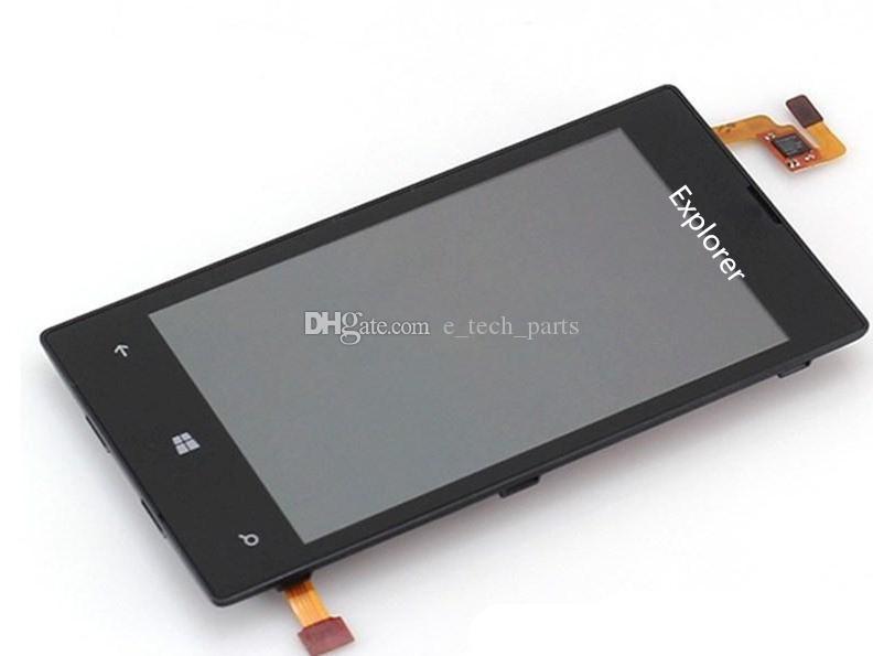 اختبار لوط مرت لنوكيا Lumia N520 العرض 520 LCD + شاشة تعمل باللمس محول الأرقام الجمعية مع الإطار 100٪ الأصلي الشحن المجاني جديد