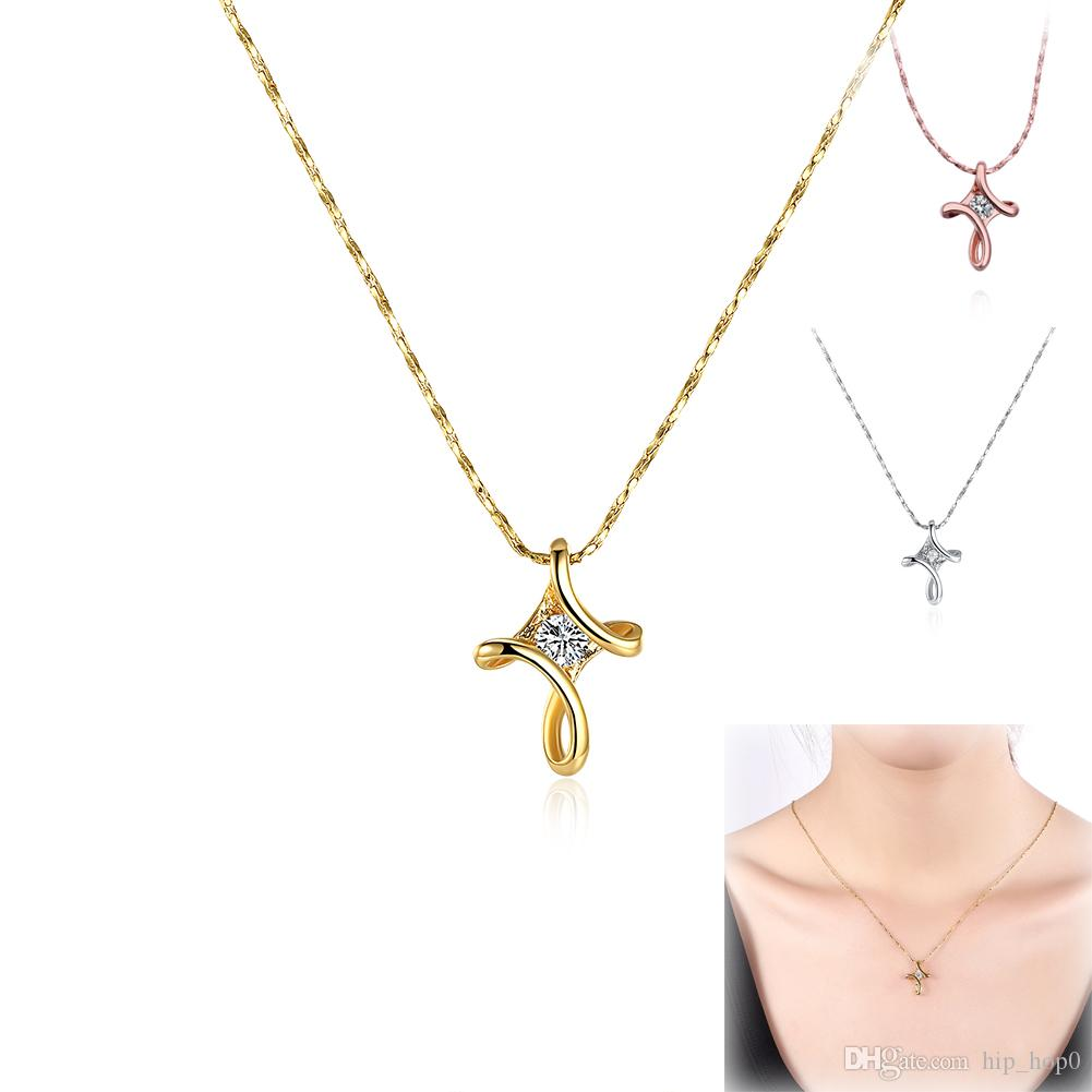 Wholesale wholesale cross pendant with cz zircon necklaces 18k gold wholesale wholesale cross pendant with cz zircon necklaces 18k gold plated rose gold white gold chain three color to choice best friend new year gift charm aloadofball Choice Image