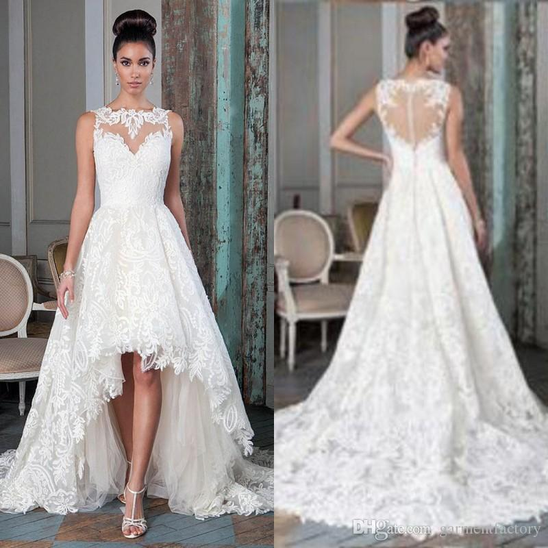 Discount Vintage Lace High Low Wedding Dresses 2016 Illusion ...