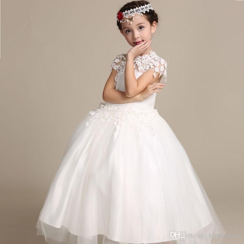 Элегантный цветок девушка платье длинные кружевные платья принцессы детские белые платья для девушки свадьба вечеринка Vestido Baby крещение платья