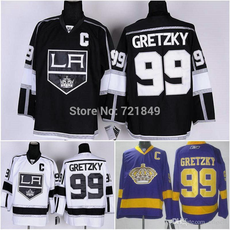 2019 Exclusive High Discount Sales!Cheap Los Angeles Kings Jersey LA  99  Wayne Gretzky Black White Purple Ice Hockey Jerseys Wholesal From Cn Sell 1d75d0114f2