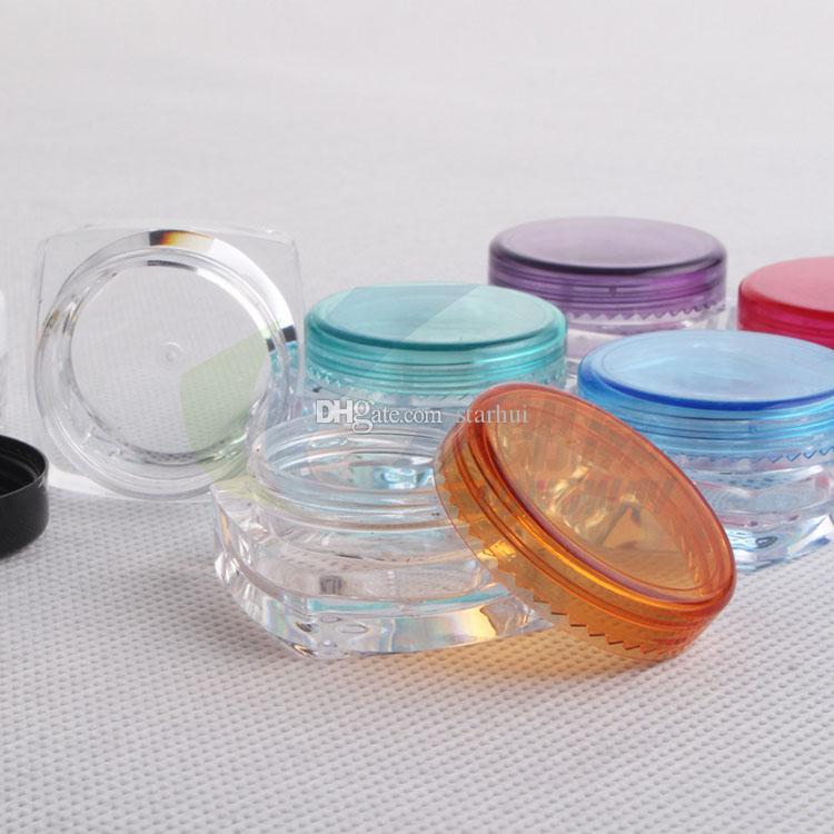 2017 Envase de Cosméticos 3G Cuadrado Cajas de Crema Cajas de Polvos Sueltos Sombreador de ojos Maquillaje Crema Facial Contenedor Mini Caja de Embalaje Cosmético WX-B74