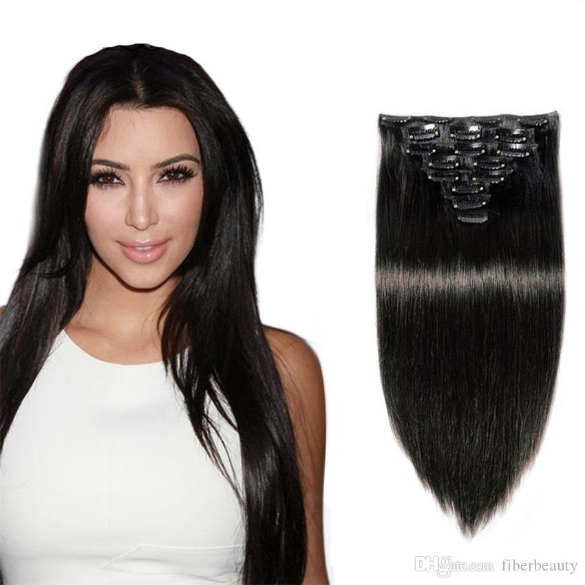 Clipser cheveux humains Extensions / set brésilienne Weave humaine brésilienne Virgin Hair Clip sur cheveux humains 7,8,/ set