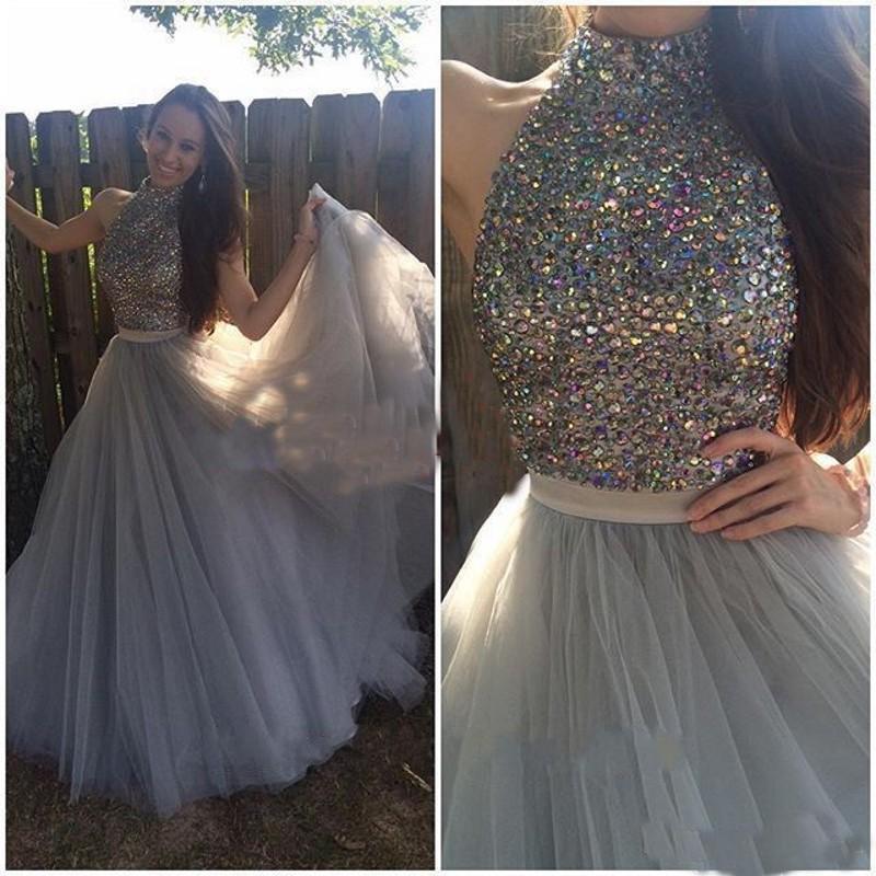 Una linea elegante collo alto con perline di strass di cristallo grigio due pezzi Prom Dresses 2018 lungo Sweep treno donne abito da festa formale