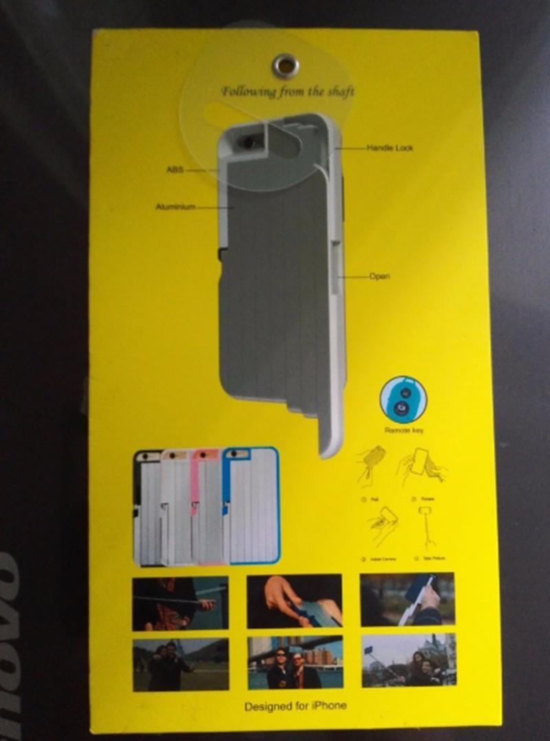 عصا سيلفي بتصميم 3 في 1 مع غطاء من الالمنيوم لهواتف ايفون 8/7 و 6 اس بلس قابلة للطي مع صندوق للهواتف عن بعد لهواتف ايفون 6S / 6/7/8