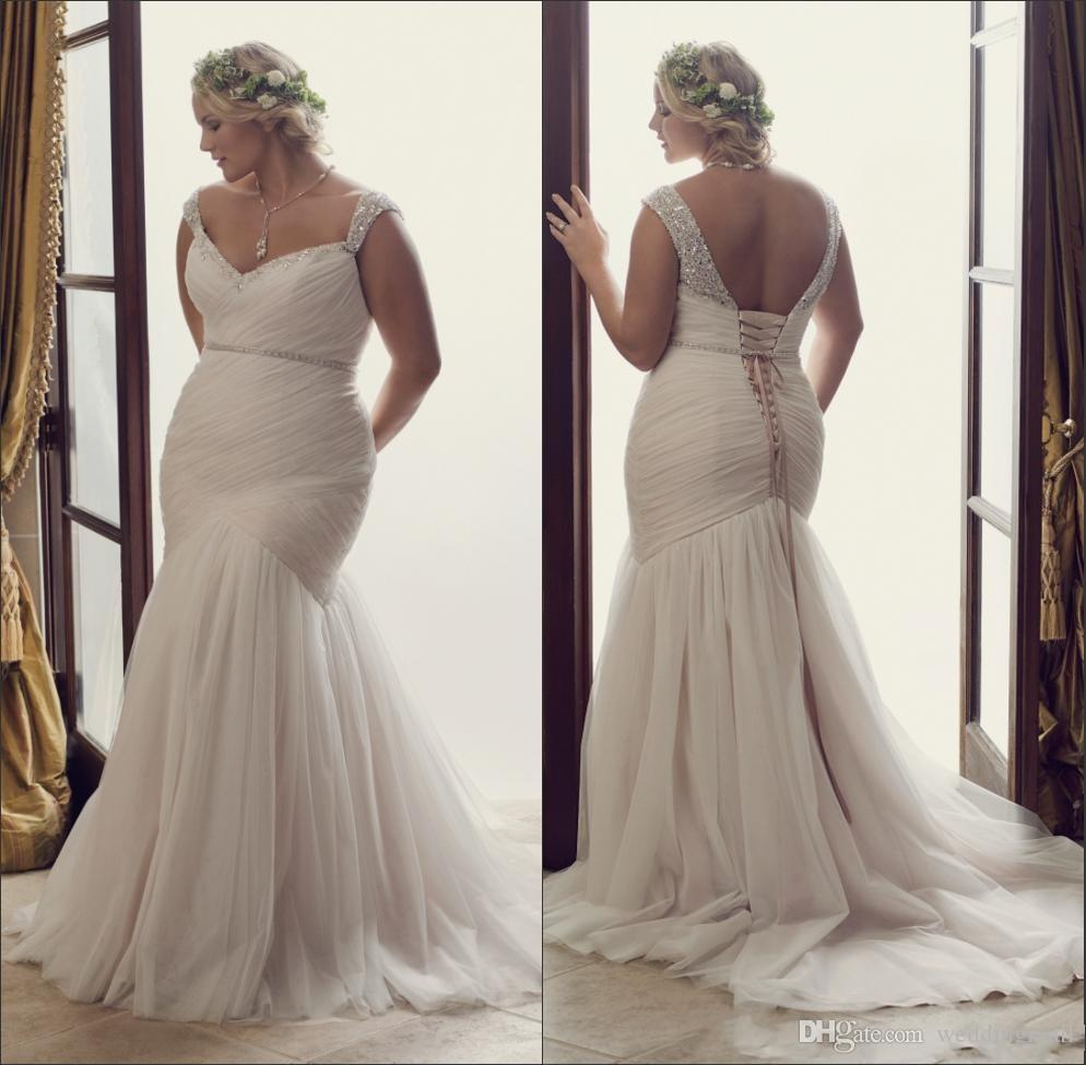 2016 Plus Size Mermaid Wedding Dresses Fitted Sweetheart