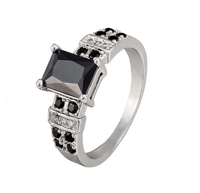 New Design 18k White Gold Plated Jewelry Ring Antique Square Black ...