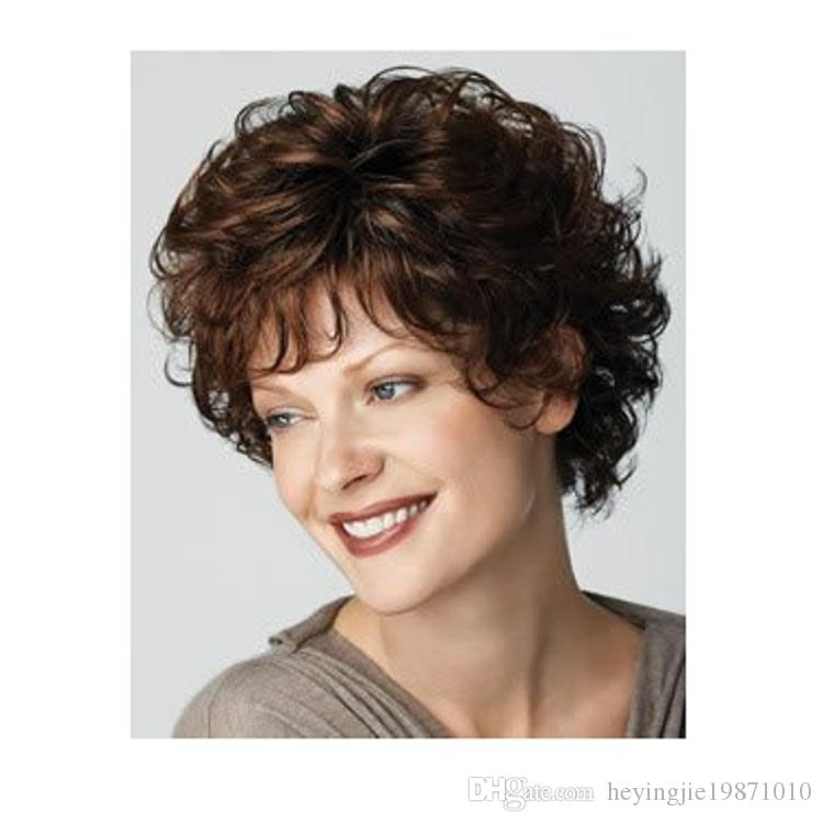 Hot sell Cheap Heat Resistant Synthetic African American Blonde Wig For Middle Age Women Natural Short Curly Wigs