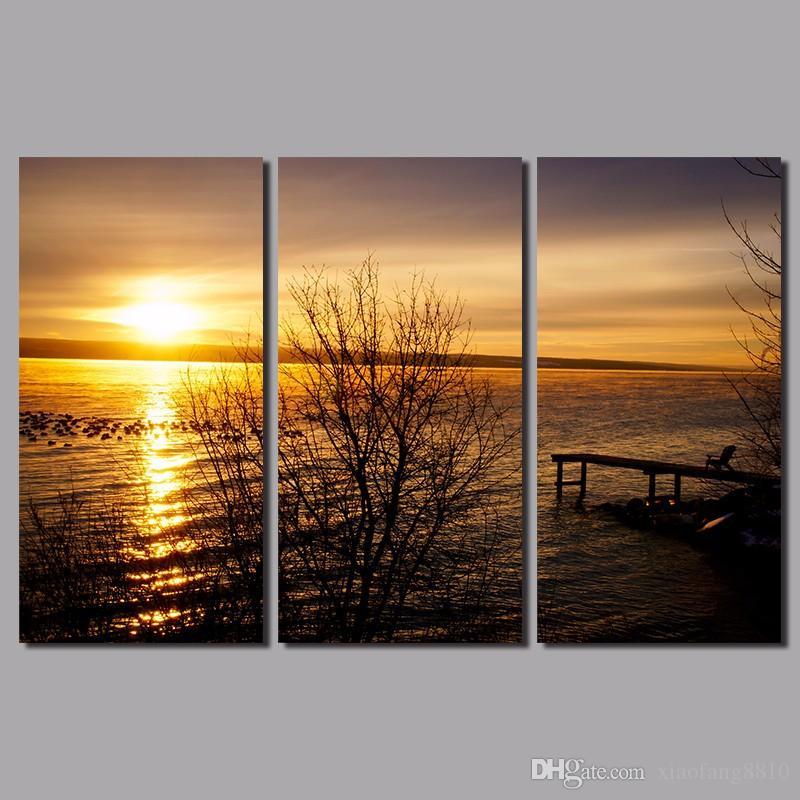 Nascer do sol tamanho Grande 3 pçs / set mar sol decoração seascape ouro retratos da arte da parede da paisagem Da Lona Pintura para sala de estar sem moldura