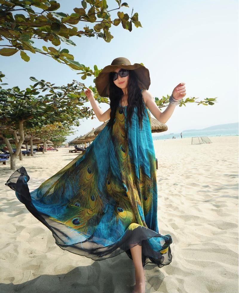 Women Summer Dress M-9xl Peacock Print Plus Size Dress Bohemian National Chiffion Long Maxi Beach Dresses Women Robe New