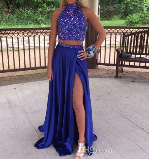 Fashionable Beaded Prom Dresses High NeckTurquoise Rhinestone Prom Dresses Sexy BacklessTwo Piece Prom Dress Silk Satin Formal Evening Gowns