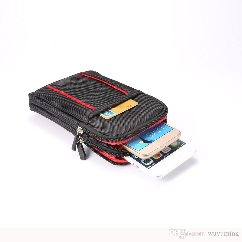 6.3inch Multi-function Wallet Mobile Phone Bag Outdoor Phone Case for Samsung Multi Phone Model Hook Loop Belt Pouch 3 Pocket 2 Zipper