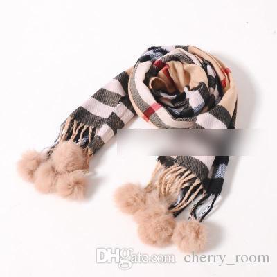 Vendita calda moda sciarpa classica ragazze inverno sciarpa plaid nuovo cotone palla nappe bambini sciarpe bambini sciarpa del bambino bambini usura a7553