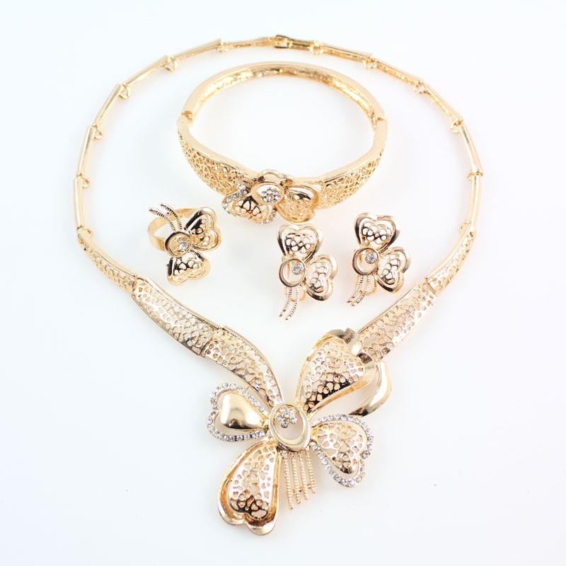 Elegant Fashion Dubai Gold Plated Vintage Women Nigerian Crystal Jewelry Sets African Beads Butterfly Design Jewelry Costume