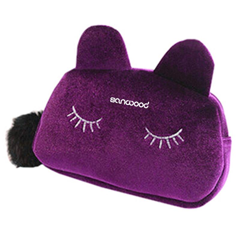 Portable Cartoon Cat Coin Storage Case Day-use Makeup Flannel Pouch Cosmetic Bag