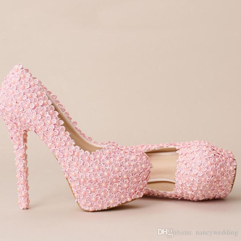 New Sweet Pink Lace Flower Wedding Shoes Handmade Festive Ultra High Heel Bridal Shoes Women Fashion Pumps Formal Dress Shoes