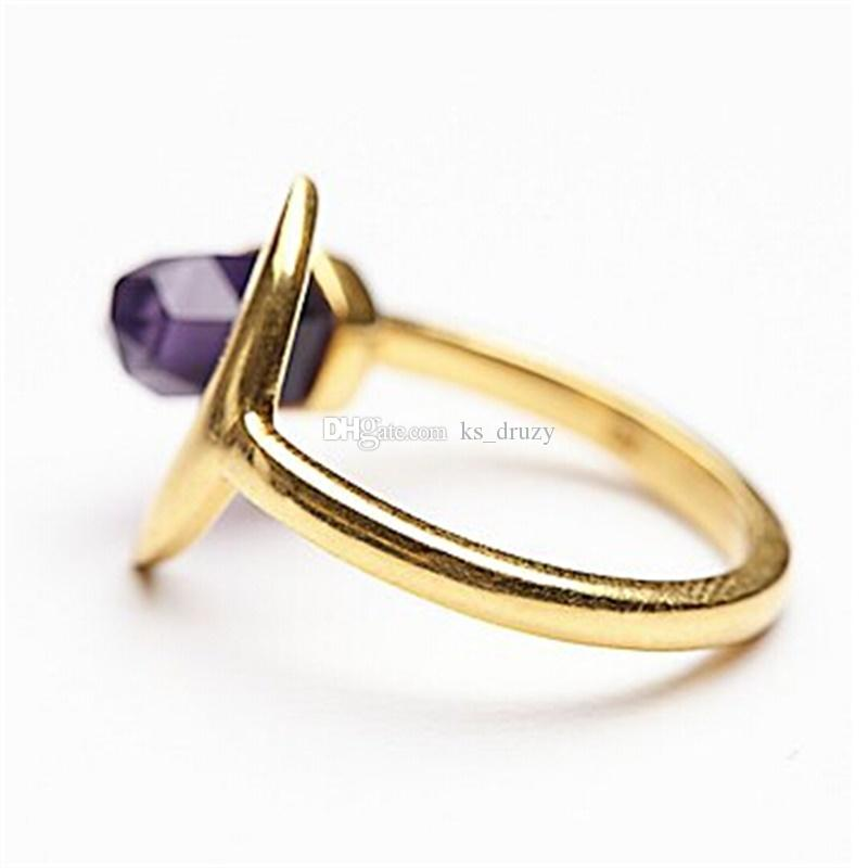 Fashion Mermaid Amethyst Rings Geometric Hexagon Prism Natural Stone Rings for Women Jewelry gift Hight Quality
