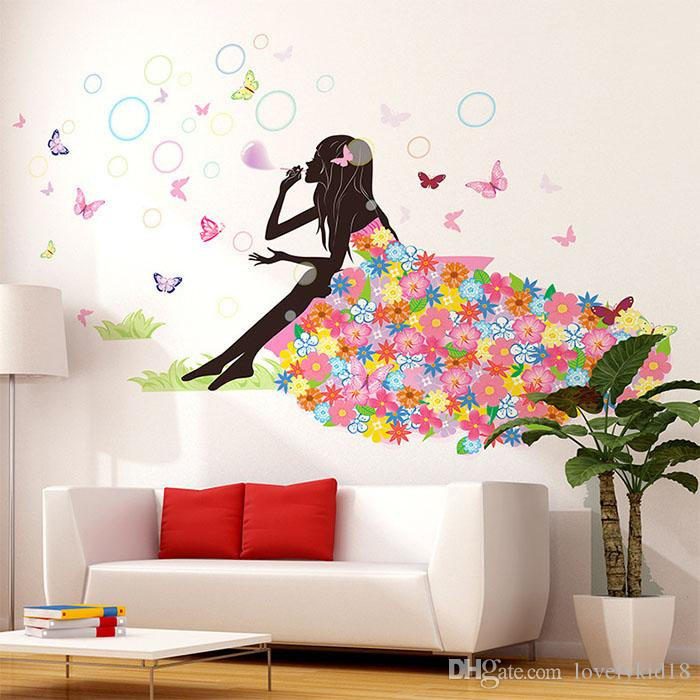 Cut Bubble Flower Tree Wall Stickers Butterfly Wall Decals Art