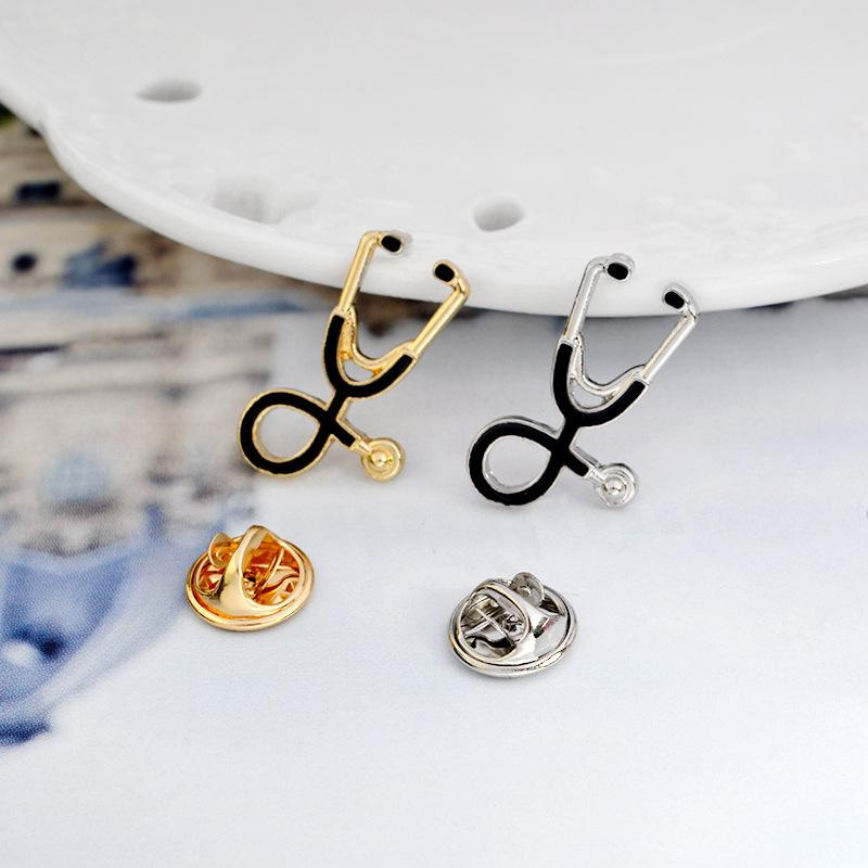 Fashion Stethoscope Brooch Pins Nurse Jewelry Silver & Gold Medical Jewelry Doctor Nurse Gift Medical School Graduation Souvenir