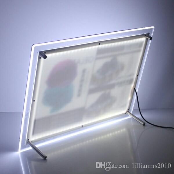 Wholesale A4 stand acrylic photo frame led illuminated picture lightbox restaurant menu boards