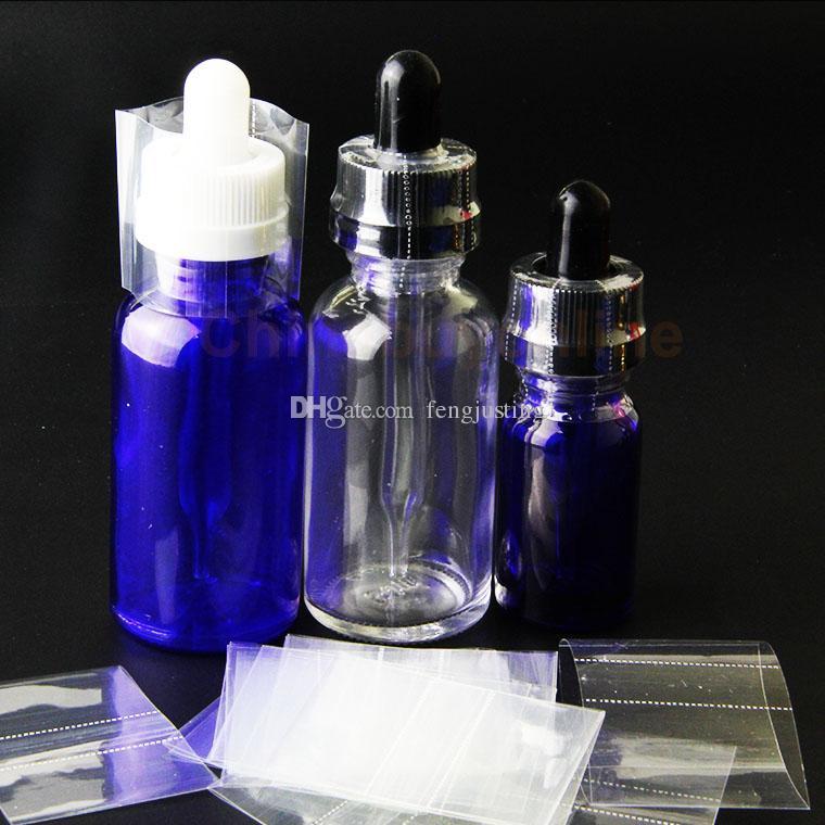 واضح PVC الحرارة يتقلص التفاف السينمائي ل 15ML 30ML 50ML قبعات من الزجاج بالقطارة زجاجات يتقلص التسمية كم زجاجة فقط للقبعات