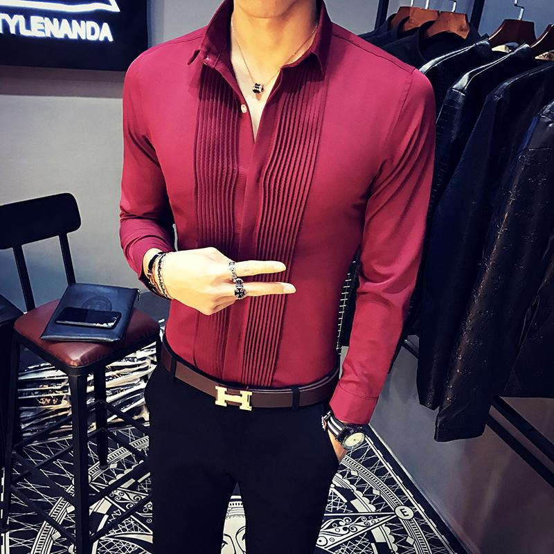 290f42b9fa0b7 2019 Wholesale Baroque Shirts Mens Luxury Clothing Club Outfits Mens Clothes  2017 Red Black Dress Shirts Mens Camisas Slim Fit White Tuxedo Top From ...