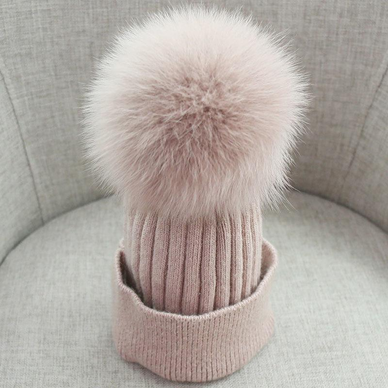 5d0d6d88d Women Beanies Raccoon Fur Pom Poms Wool Hat Beanie Knitted Skullies Fashion  Caps Ladies Knit Cap Winter Hats For Women