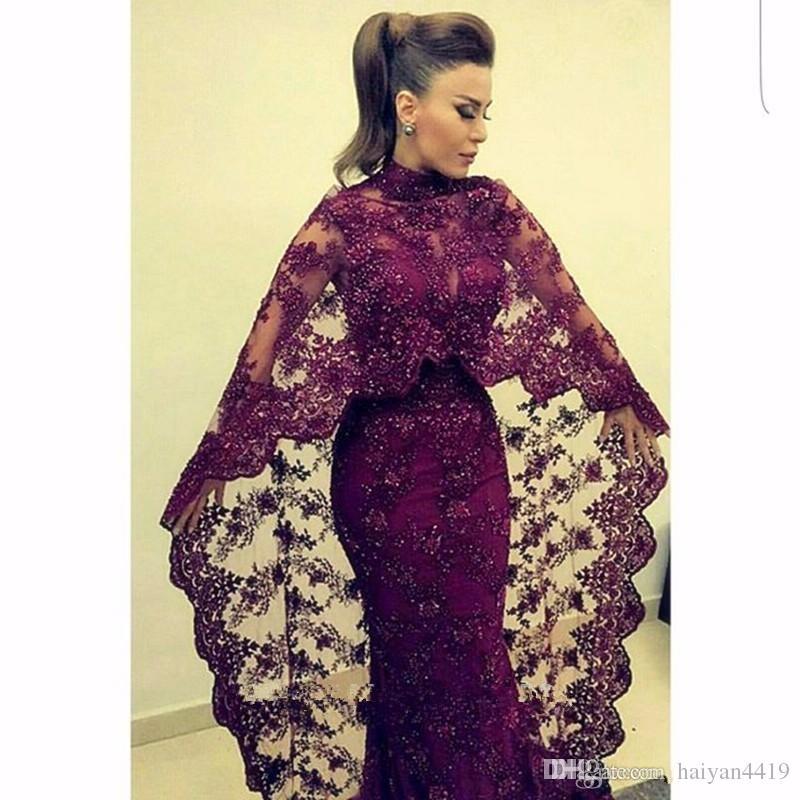 Abiti da sera 2016 Sexy Arabo Collo Alto Borgogna Grape Appliques di Pizzo In Rilievo di Perline Cape Formal Dubai Abaya Economici Party Dress Prom Gowns
