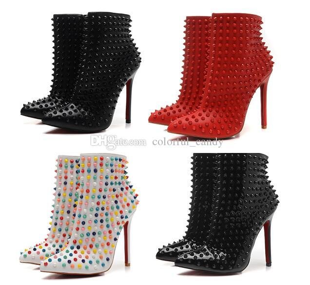 12cm Designer Ladies Spikes Studded Red Bottom Boots High Heels ...