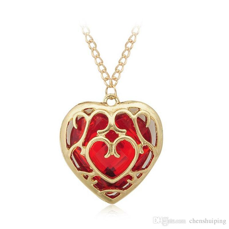Sunshine The Legend of Zelda blue red Heart Container necklace hollow out pendant Jewelry lovers
