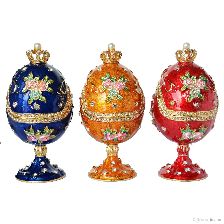 Rose Flower Faberge Egg Trinket Jewelry Box Engagement Ring Box Gift