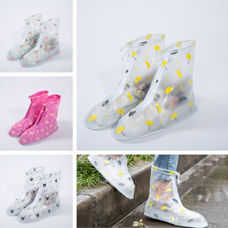 34e3038dad Waterproof PVC Reusable Rain Shoe Covers Anti-Slip Printed RainShoe Zipper  Rain Boot Overshoes Waterproof Shoes Cover IC705