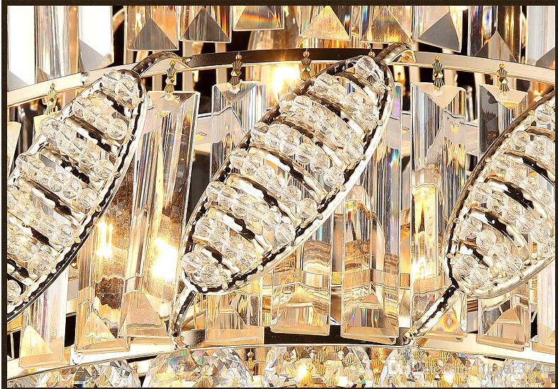 2016 D480mm LED Lüks Kuzey Avrupa Üst K9 Şampanya Kristal Avize Işık Otel Salonu Oturma Odası Yemek Odası AC 110-240 V