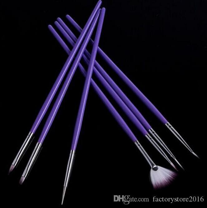 7 adet Nail Art Design Kalem Resim Süsleyen Akrilik Tırnak Fırçası Seti Profesyonel Oje Fırça Seti Beyaz ve Mor renk