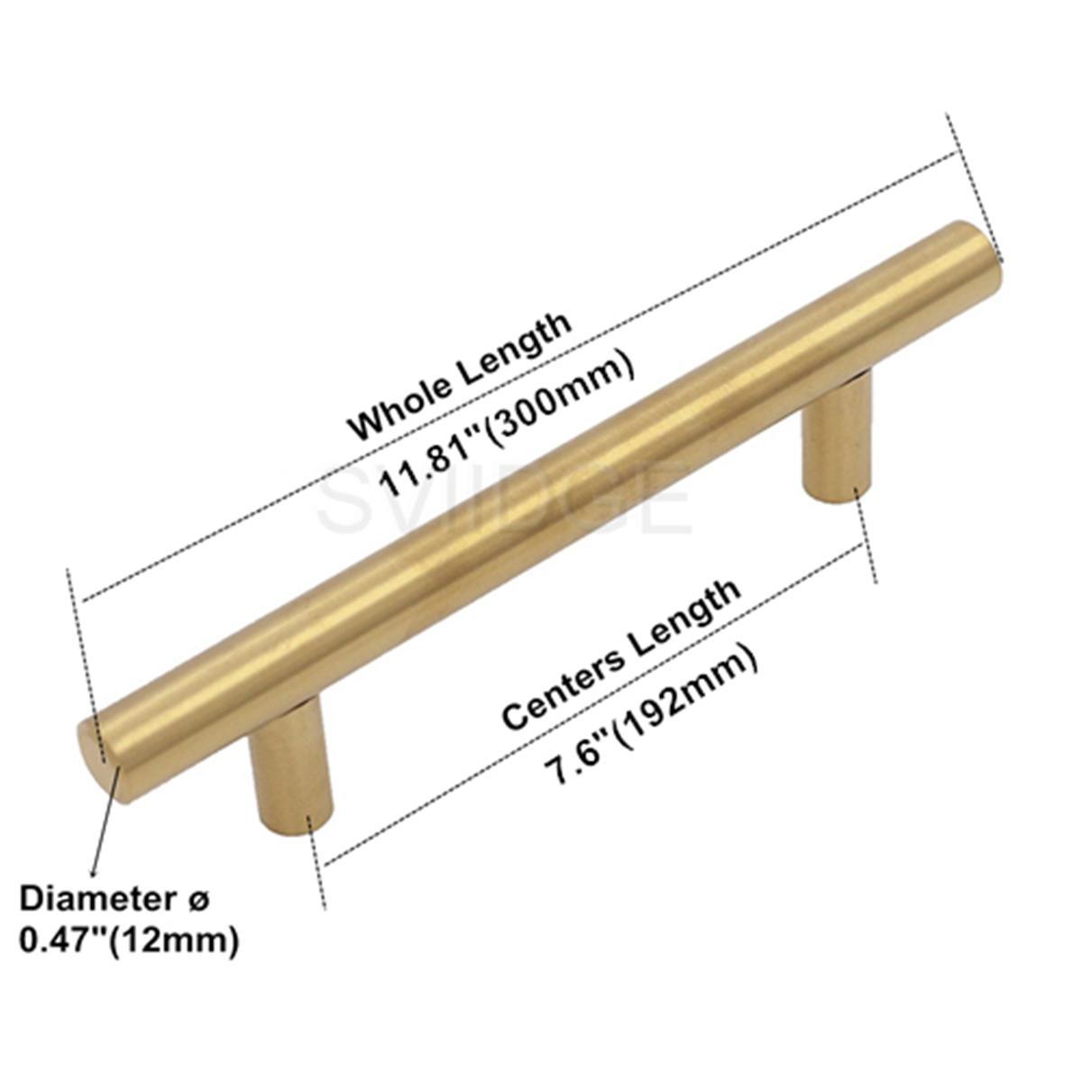 Gold Kabinett Griff Edelstahl Durchmesser 12mm Küche T Bar Türknauf Möbel Schublade Schrank Pull verschiedene Größen