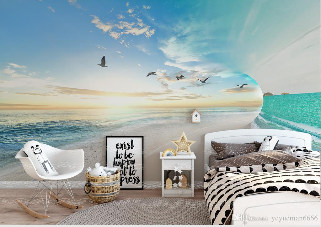 European style Simple Sea sky Landscape Background Wall Nonwoven-Wallpaper For Living Room Tv Background home decor