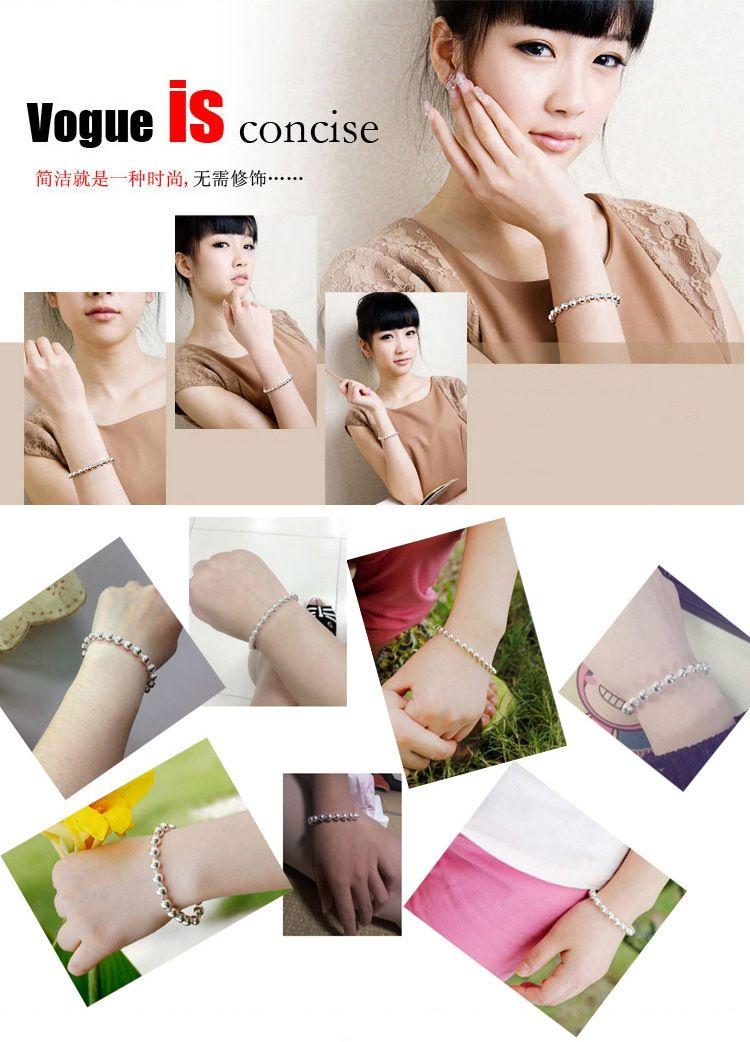 Güney Kore takı trendi toptan 925 gümüş bilezikler boncuk bilezikler patlama modelleri tam parlak gümüş bilezik