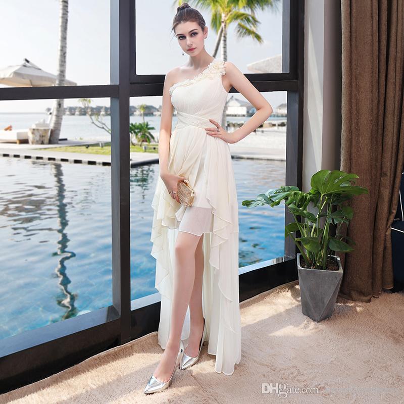 2017 bon marché une épaule demoiselle d'honneur robe de mousseline de mousseline Hi-lo Back Fermeture éclair simple robe de cocktail formelle robe de bal junior