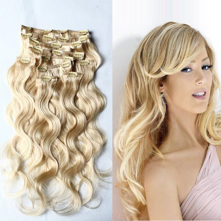 20inch 24inch Remy Clip Human Hair Extension 613 Body Wave Hair