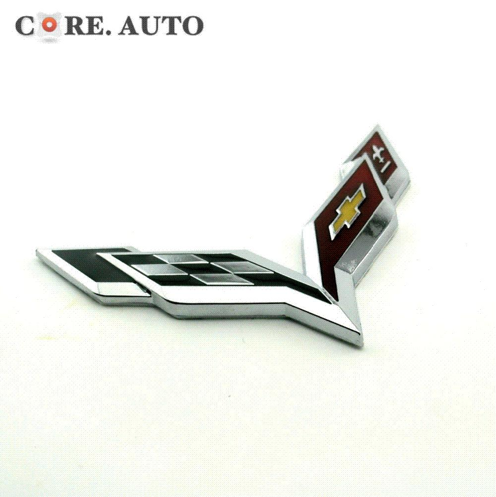 Wholesale metal checker crossed flag emblem car side wing fender body sticker for chevy corvette colorado cobalt silverado impala badge by c12312345 under