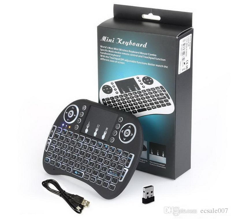 Rii I8 Inteligente Fly Air Mouse Luz de Fundo Remoto 2.4 GHz Teclado Sem Fio Bluetooth Touchpad Controle Remoto Para S905X S912 TV Android Box X96 T95