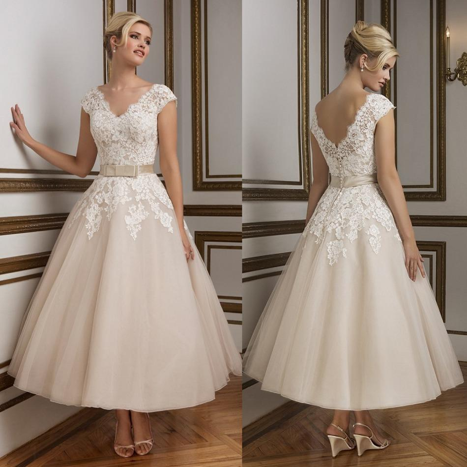 Simple Elegant Country Style Wedding Dresses With Lace: Simple Lace Elegant Short Fairy Wedding Dresses Backless