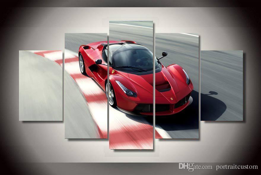 5 Unids Con Enmarcado Impreso Rojo coche de deportes Pintura en lienzo decoración de la habitación impresión de la imagen del cartel de la lona enmarcada arte del hogar