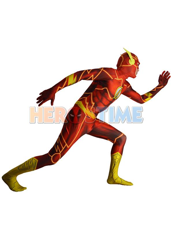 2016 The New 52 Flash Costume 3D Shade Spandex Fullbody Male Flash Superhero Costume For Halloween And Cosplay Zentai Suit