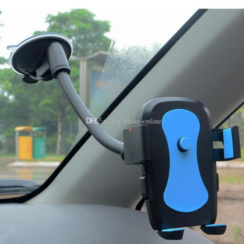 Universal Car Windshield Mount Holder 360 Degree Rotation Long Hose Sucker Automatic Lock Cell Phone GPS Holders Bracket Stands