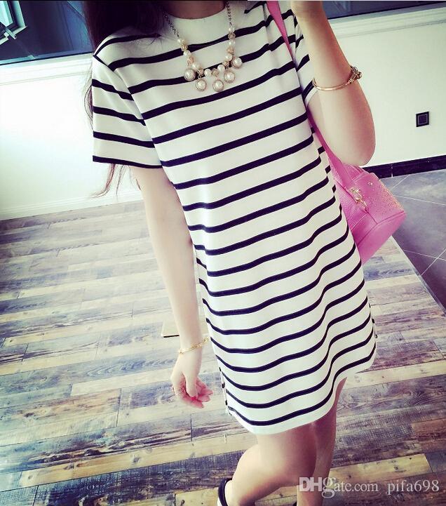 Long bag hip han edition dress dress with short sleeves in summer cotton T shirt render unlined upper garment